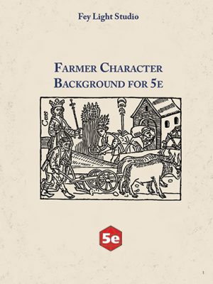 Farmer Character Background for 5e by Fey Light Studio. An engraving of a noble overseeing workers in the field.