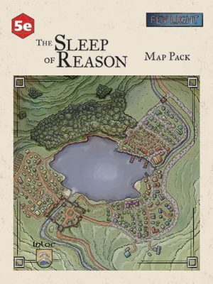 Fey Light Studio - 5e - The Sleep of Reason Map Pack - on a textured background. At bottom, a map of the town of Inloc - surrounding a lake and bordered by mountains.