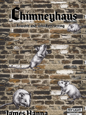 Chimneyhaus cover; 4 mice rise up a brick background