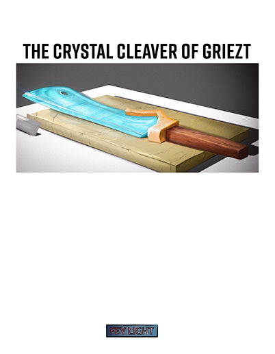A crystal cleaver displayed as if in a museum. It glints dangerously in the light.