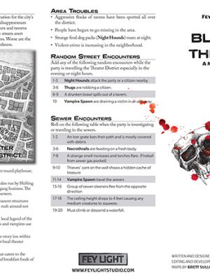 A page from Bloody Theater, a micro setting. Includes information about the theater district and two encounter tables.