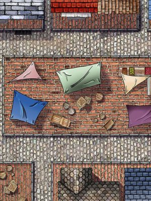 A ramshackle marketplace of woden stands and colored awnings