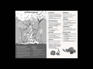 A spread from The Grassy Sea shows a hollowed out tree, the hideout for Blacktail. The spread includes locations, encounters, loots and a map of the adventure site.